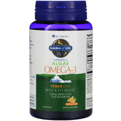 Garden of Life, Algae Omega-3, Orange Flavor, 60 Softgels