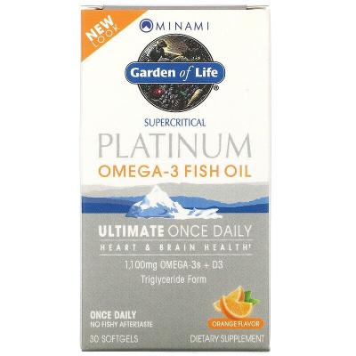 Garden of Life, Minami Platinum, Omega-3 Fish Oil, Ultimate Once Daily, Orange Flavor, 30 Softgels