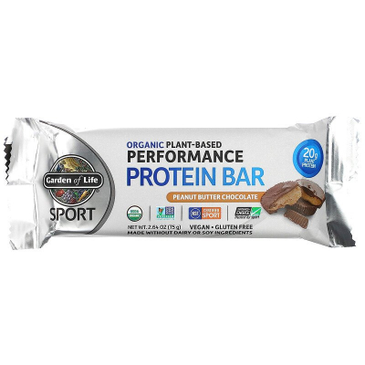 Garden of Life, Sport Organic Plant-Based Performance Protein Bar, Peanut Butter Chocolate, 75 g
