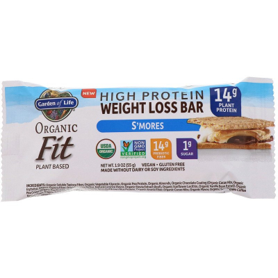 Garden of Life, Organic Fit, High Protein Weight Loss Bar, S'mores, 55 g