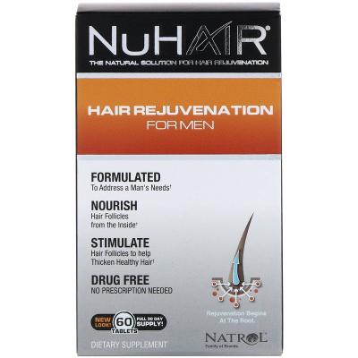 Natrol, NuHair, Αναζωογόνηση Μαλλιών για Άνδρες, 60 Κάψουλες