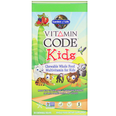 Garden of Life, Vitamin Code Kids, Chewable Whole Food Multivitamin For Kids, 30 chewable bears