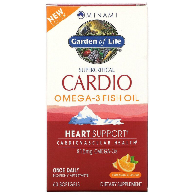 Garden of Life, Minami Supercritical Cardio, Omega-3 Fish Oil, Orange Flavor, 915 mg , 60 Softgels