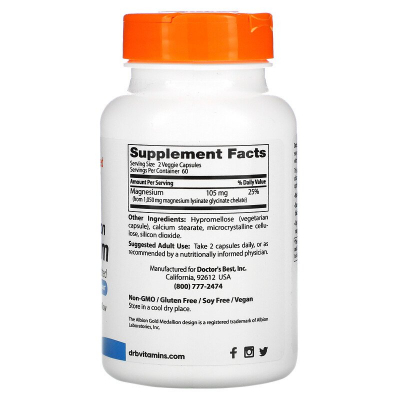 Doctor's Best, High Absorption Magnesium, Lysinate Glycinate 100% Chelated, 105 mg, 120 Veggie Caps