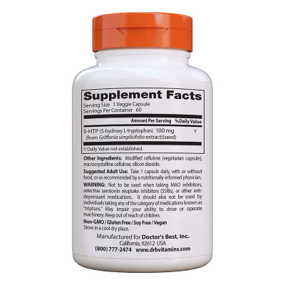 Doctor's Best, 5-HTP, 100 mg, 60 Χορτοφαγικές Κάψουλες
