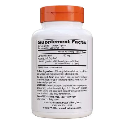 Doctor's Best, Επιπρόσθετη Δύναμη Γκίνγκο, 120 mg, 120 Χορτοφαγικές Κάψουλες