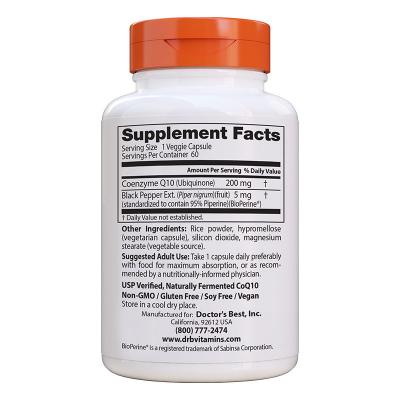 Doctor's Best, Υψηλής Απορροφητικότητας CoQ10 με BioPerine, 200 mg, 60 Χορτοφαγικές Κάψουλες