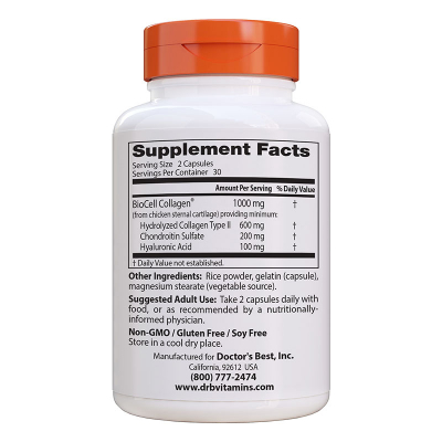 Doctor's Best, Υαλουρονικό Οξύ + Θειούχο χονδροϊτίνης, 60 Χορτοφαγικές Κάψουλες