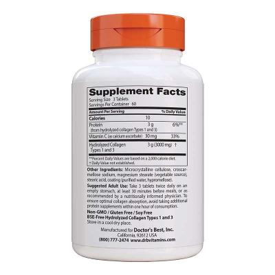 Doctor's Best, Κολλαγόνος Τύπος 1 & 3, 1000 mg, 180 Κάψουλες