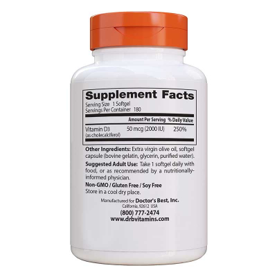 Doctor's Best, Βιταμίνη D3, 50 mcg (2,000 IU), 180 Κάψουλες