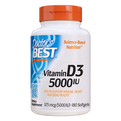 Doctor's Best, Βιταμίνη D3, 5000 IU, 180 Κάψουλες