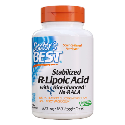Doctor's Best, Stabilized R-Lipoic Acid, 100mg, 180 vcaps