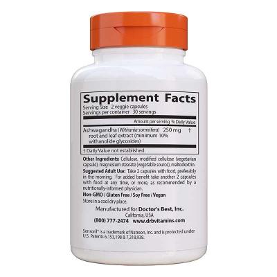 Doctor's Best, Best Ashwagandha, 125 mg, 60 Χορτοφαγικές Κάψουλες