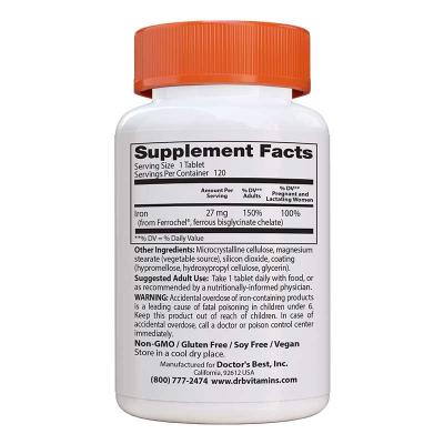 Doctor's Best, Υψηλής Απορροφητικότητας Σίδηρος, 27 mg, 120 Κάψουλες
