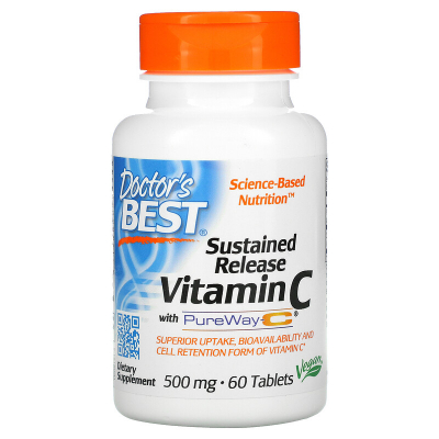 Doctor's Best, Sustained Release Vitamin C with PureWay-C, 500 mg, 60 Tablets