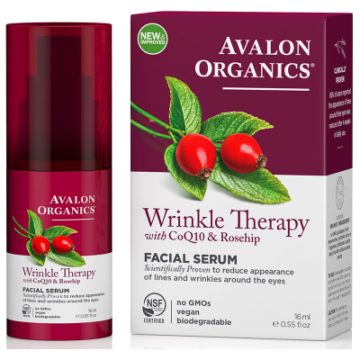 Avalon Organics, Wrinkle Therapy, Με CoQ10 & Rosehip, Ορός Προσώπου, 0.55 fl oz (16 ml)