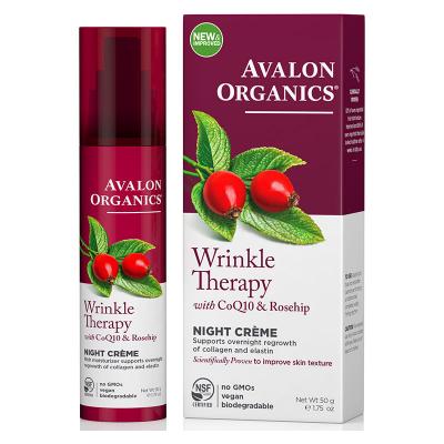 Avalon Organics, Wrinkle Therapy, With CoQ10 & Rosehip, Night Creme, 1.75 oz (50 g)
