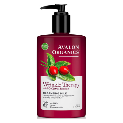 Avalon Organics, Wrinkle Therapy, With CoQ10 & Rosehip, Cleansing Milk, 8.5 fl oz (251 ml)