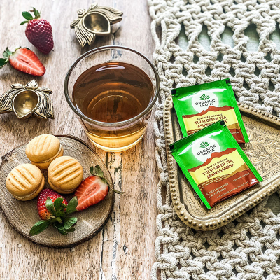 Organic India, Green Tea Ashwagandha Με Τούλσι, 25 Φακελάκια
