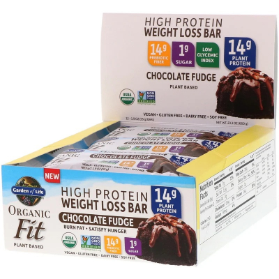 Garden of Life, Organic Fit, High Protein Weight Loss Bar, Chocolate Fudge, 55g