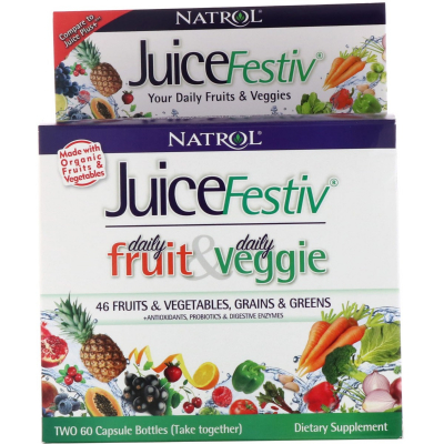 Natrol, JuiceFestiv, Daily Fruits & Veggie - 60 + 60 caps