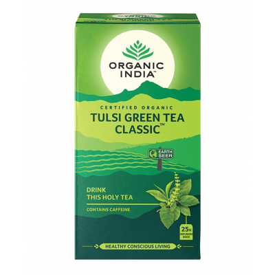 Organic India, Green Tea Με Τούλσι, Κλασσικό, 25 Φακελάκια