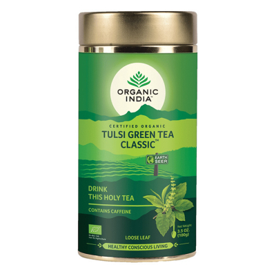 Organic India, Green Tea Με Τούλσι, Κλασσικό, Χύμα, Σε Μεταλλικό Δοχείο 100γρ