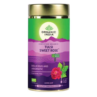 Organic India, Τσάι Sweet Rose Με Τούλσι, Χωρίς Καφεΐνη, Χύμα, Σε Μεταλλικό Δοχείο, 100γρ