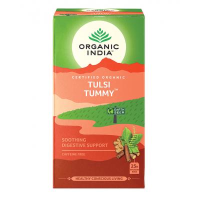 Organic India, Τσάι Tummy Με Τούλσι, Χωρίς Καφεΐνη, 25 Φακελάκια
