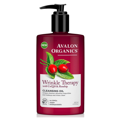 Avalon Organics, Wrinkle Therapy, With CoQ10 & Rosehip, Cleansing Oil, 8 fl oz (237 ml)